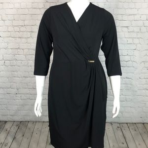 Charter Club Deep Black Wrap Front Dress Size 1X